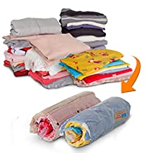 HomeIdeas 8 Packs Space Saver Portable Compressed Storage Bags, Simple Roll-up Zipper Packing Organizer Bags, No Vacuum Seal, PREMIUM QUALITY, Perfect for Home and Travel