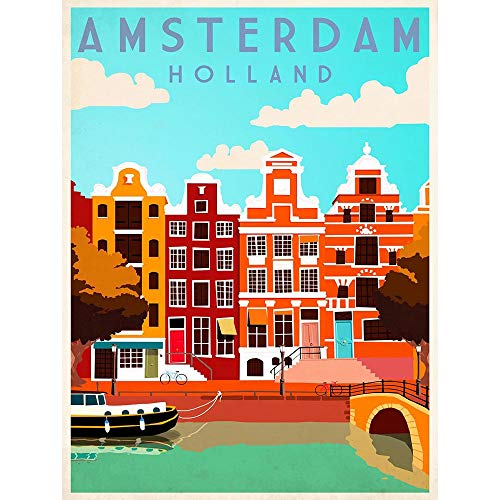 Wee Blue Coo Travel Tourism Amsterdam Holland Netherlands Canal Boat Houses Unframed Wall Art Print Poster Home Decor Premium