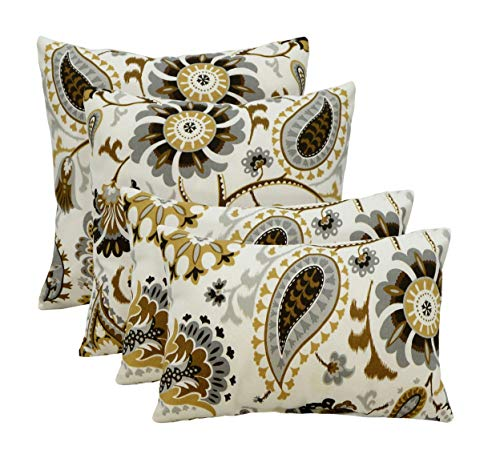 RSH Décor Indoor Outdoor Set of 4 Decorative Throw/Toss Pillows ~ Silver Cloud Paisley Floral - Tan Black Gold Grey/Gray Ivory (20