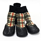 """ColorfulpetsTM Nonslip Outdoor Dog Socks for Small to Large Dogs + Velcro Straps (Classic plaid, XXS (1.3""""x1.1""""))"""