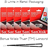 Sandisk Cruzer Force 16GB SDCZ71-016G - 5 Pack In Retail Packaging Flash USB Drive Jump Drive Pen Drive + Wisla Trust (TM) Lanyard