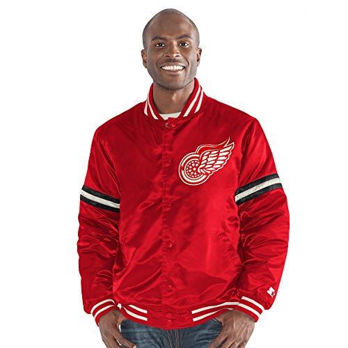 STARTER NHL Detroit Red Wings Men's Legacy Retro Satin Jacket, XX-Large, (Throwback Jersey Jacket)