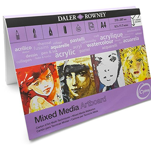 Daler Rowney Mixed Media Painting Art Board Canvas - A4 - Acid Free 10 Sheets - Made in UK