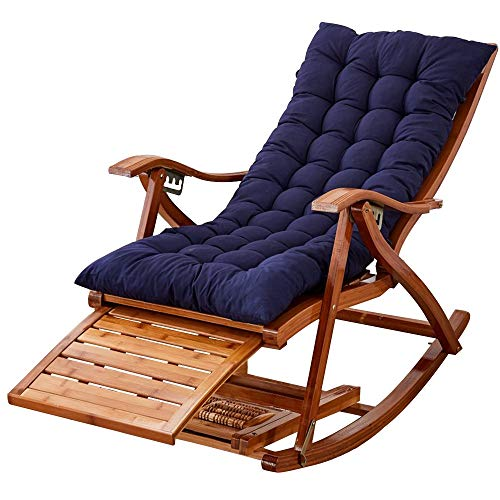 Cushion 5 Position - Rocking Chairs MEIDUO Rocking Lounger Bamboo Adjustable in 5 Positions Folding Recliner Outdoor Sun Lounger with Cotton Cushion for Patio, Balcony, Brown/Blue/Gray/Purple/Red (Color : Blue)