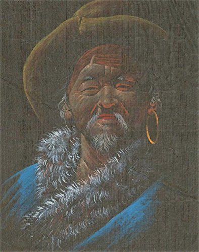 - Sulis Fine Art Native American Contemporary Gouache - Portrait of a Man in a Fur Trimmed Shawl