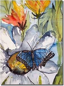 """Blue Butterfly"" by Derek McCrea - Ceramic Tile Mural 24"" x 18"" Backsplash"