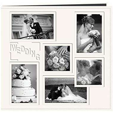 Pioneer 12-Inch by 12-Inch Collage Frame Embossed  Wedding  Sewn Leatherette Cover Memory Book, Ivory