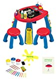 Kids Table And Chair Set Plastic Desk With 2 Chairs For Colorful ActivitiesSuitable For Boys And Girls And E- book By TSR