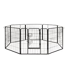 ALEKO® DK32X32 Heavy Duty Pet Playpen Dog Kennel Pen Exercise Cage Fence 8 Panel 32X32 Inches