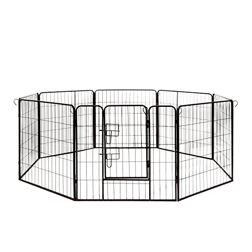 ALEKO DK32X32 Heavy Duty Pet Playpen Dog Kennel Pen Exercise Cage Fence 8 Panel 32 x 32 Inches Black
