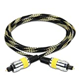DATASTREAM Digital Audio Optical TOSLink Cable (6') w/ High Fidelity Audio Transfer & Nylon Braided Cable - Ideal for TV'S , Sound Bars & A/V Receivers