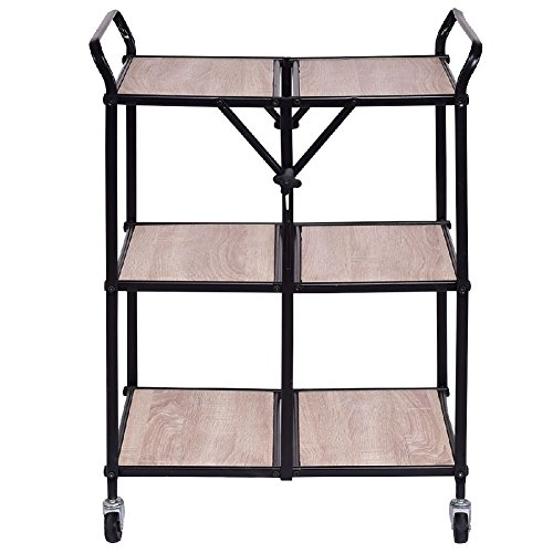 Three Tier Trolleys (Cart Portable Folding Trolley Rolling Shelves Storage Kitchen 3 Tier)