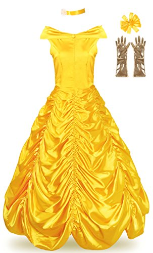 [JerrisApparel Women's Princess Belle Costume Halloween Party Dress (4-6, Yellow)] (Belle Halloween Costumes For Adults)