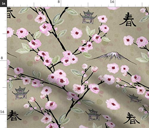 Japan Fabric - Japanese Cherry Blossoms Pink Beige Springtime Pagoda Japan Spring Watercolor Print on Fabric by The Yard - Petal Signature Cotton for Sewing Quilting Apparel Crafts Decor