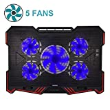 Laptop Cooling Pad BUJIAN 5 Ultra Quiet Fans and Red Led Lights with 13 wind speed (2600-5000RPM) and Ultra-slim and Skid Proof Design for 12-15.6 Inch Laptop (S-X5)