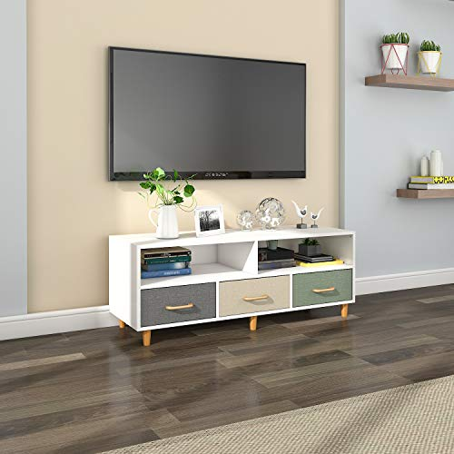 Lifewit Wood TV Stand TV Storage Console Contemporary Entertainment Unit Center Cabinet with 3 Fabric Drawers and 2 Shelves, White
