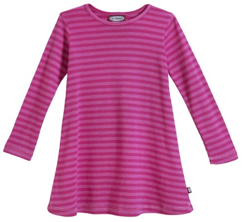 City Threads Big Girls' Cotton Long Sleeve Dress, Striped Hot Pink, 10 ()