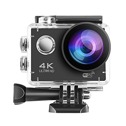 LESHP Action Camera 4K WiFi Ultra HD 30m Underwater Waterproof Sports Camera for Youtube Video 12MP 170 Degree Wide Angle Helmet Camcorder by LESHP