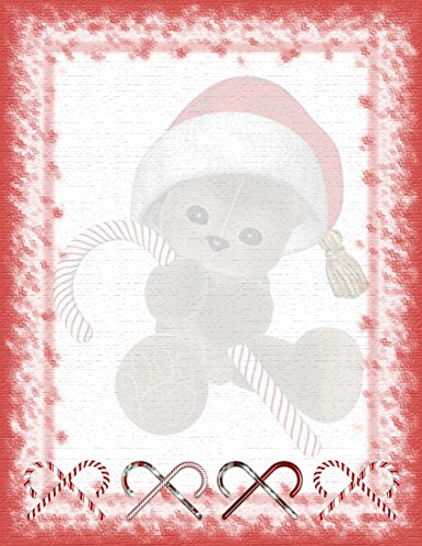 Christmas Teddy Bear With Candy Cane Stationery Printer Paper 26 Sheets (Cane Bears Candy)