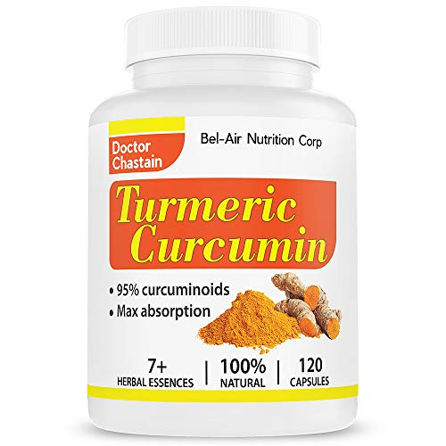Bel-Air Turmeric Curcumin with black pepper extract, 100% potent curcumin and standardized to 95% Curcuminoids, 120 veggie capsules tumeric curcumin supplement, best tumeric supplement