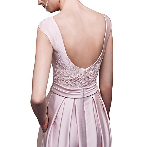 Rosa bestickter Satin Spitze GEORGE Elegante Kleid rosa BRIDE rmelloses I81PUP