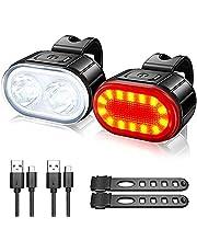 Fietslicht, voorlicht + achterlicht, led-fietslichtgroep, USB-fietslicht, voor- en achterlichtgroep, 4 + 6 lichtmodi, IPX4 waterdicht, superhelder voorlicht, outdoor en nachtritten