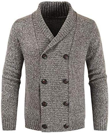 暖かいニットウェアスリムフィット メンズニットセーターダブルブレストカーディガンラペル長袖ファッションスリム軽量ジャケット 大きいサイズ (Color : B, Size : XXXXXL)