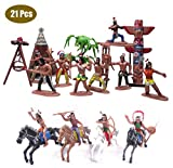 21 Pcs Plastic Indian Figures Playset Toy Native American Figures with Horse, Tent, Totem etc. Wild West Cowboy Miniature Kit Great for Kids Children as School Project, Christmas,Birthday Gift