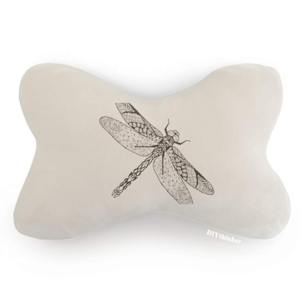 DIYthinker Dragonfly Animal Portrait Sketch Car Neck Pillow Headrest Support Cushion Pad
