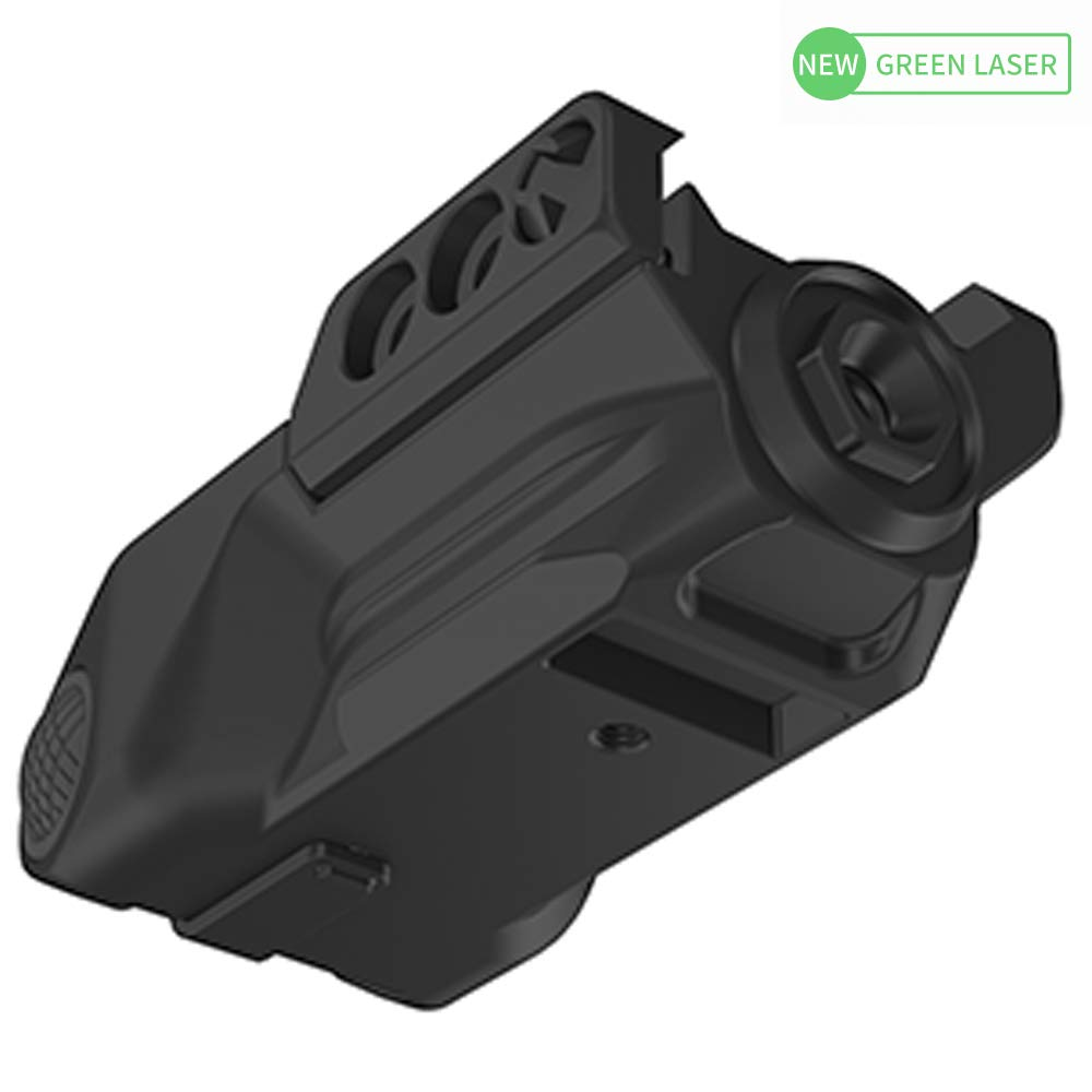 Laspur Sub Compact Tactical Rail Mount Low Profile Green Laser Sight, Build-in Rechargeable Battery for Pistol Rifle Handgun Gun (Button Switch) by Laspur