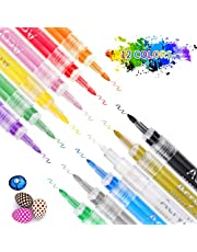 Acrylic Paint Markers Pens SZMDLX 12-color Extra-Fine Tip 0.7mm, Acrylic Ink Paint Pens for Rock Painting, Ceramic, Metal, Wood, Glass, Fabric, Canvas, Stone, DIY Craft, Scrapbook Journals, Photo Albums, Card Stocks, Paper Project, Coloring