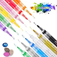 Acrylic Paint Markers Pens SZMDLX 12-color Extra-Fine Tip 0.7mm, Acrylic Ink Paint Pens for Rock Painting, Ceramic,...
