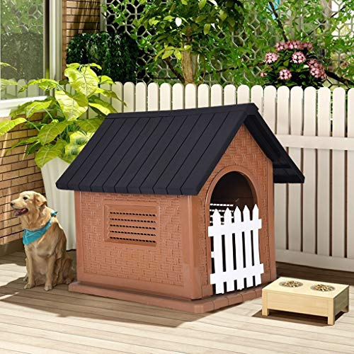 Luonita Outdoor Dog House with Door,Pet Waterproof Plastic Dog Kennel Outdoor Dog House for Small to Large Size Dog All Weather Doghouse Puppy Shelter Shipping from CA.,NJ. (Black)