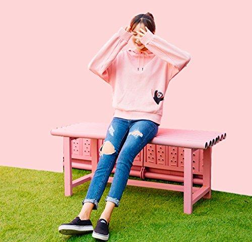 Cálido Invierno Lime Con Xs color De Algodón Encantadora Jersey Sudadera Mantener Otoño E Las Mujeres Tamaño Pink Bolsillo Rosa Suelta Capucha ZrEq1r
