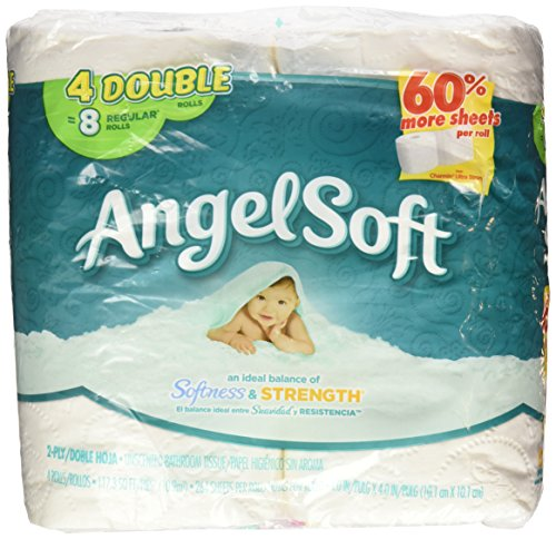 Angel Soft Unsented Bathroom Tissue 264 2-Ply 4 rolls (Toilet Pack Angel Soft 4 Paper)