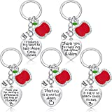 5 Pieces Teacher Keychain for Women Men Teacher Appreciation Gifts Thank You Gift Heart Charm Jewelry Keychains Set (Style 1)