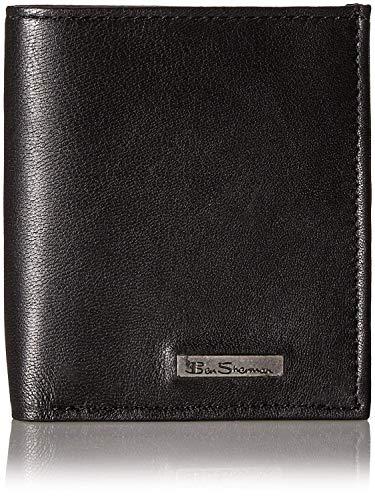 - Ben Sherman Men's Brick Lane Sheepskin Leather Slim Square Passcase Wallet with Logo Plate, Black, One Size