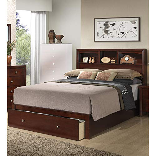 Benjara Classic Cal King Wooden Bed With HB And FB Storage, Brown