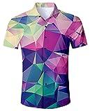RAISEVERN Men's Glass Rainbow Printed Shirt Regular Fit Casual Button Down Short Sleeve Hawaiian Shirt