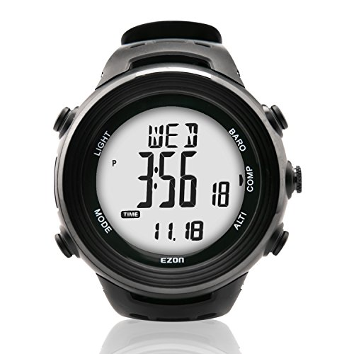 EZON H011 Hiking Climbing Multi-Functional Outdoor Watch with Compass Altimeter Barometer Wristwatch Black by EZON