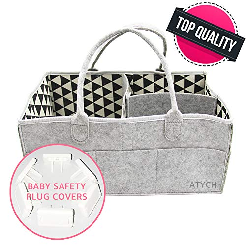 Baby Diaper Caddy Atych Baby Diaper Caddy Organizer | Baby boy & Girl Diaper Caddy | Diaper Caddy with Leather Handle | 13x9x7 inch | Best Choices for Diaper & Baby Wipes (Gray)