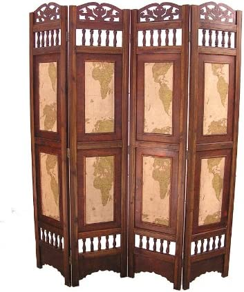 Styled Shopping Old World Map Room Divider Screen