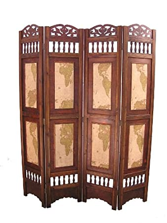 Old World Map Room Divider Screen