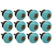 Nicola Spring Ceramic Cupboard Drawer Knobs - Turquoise - Pack Of 12
