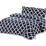 Utopia Bedding Printed Comforter Set (Queen, Navy) with 2 Pillow Shams - Luxurious Soft Brushed Microfiber - Goose Down Alternative Comforter
