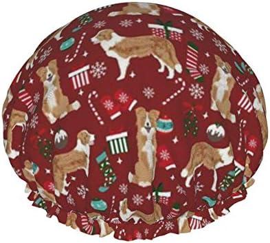 Badmuts Border Collie Kerst Licht Border Collie Leuke Hond Douche Cap Douchehoed Waterdicht Dubbellaags Herbruikbare Elastische Nachtmuts