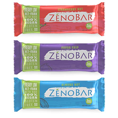ZenoBar Keto Low Carb Energy Bar, 1.6 oz (Variety, 6-Pack): Vegan, Whole Foods, Low Glycemic, Perfect for Keto, Diabetic, and High Fat Diets