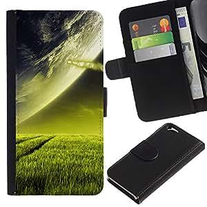 KingStore / Leather Etui en cuir / Apple Iphone 6 / Extranjero de espacio Planet Green Grass Arte Cosmos