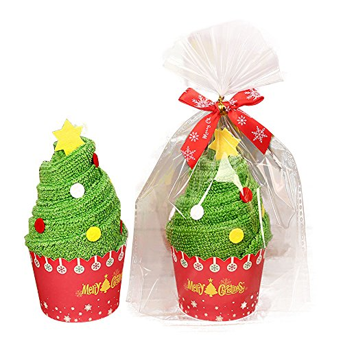 Decorative Towel Set, Qisc Christmas Tree Cake Modelling Cotton Towel Christmas Gift (Green)