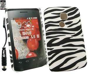 Emartbuy® Stylus Pack Para LG Optimus L1 II E410 Protector de Pantalla + Metallic Mini Negro Stylus + Zebra Negro / Clip Blanco Sobre La Protección Case / Carcasa / Funda / Cubierta